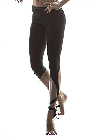 Femme de jogging de la mode des pantalons pantalons de yoga et de conception de ruban de ballet (Medium, Noir)