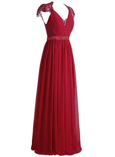 Bbonlinedress Robe de cérémonie et de soirée A-line plissée dentelle col V longueur ras du sol en mousseline Corail