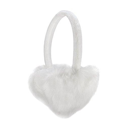 Sudawave Damen Mädchen Winter einstellbare Ohrenschützer Mode einzigartiges Design herzförmige (Weiß)