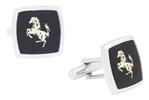 The Jewelbox Formal Shirt Horse Glossy Rhodium Gold Plated Square Black Cufflinks...