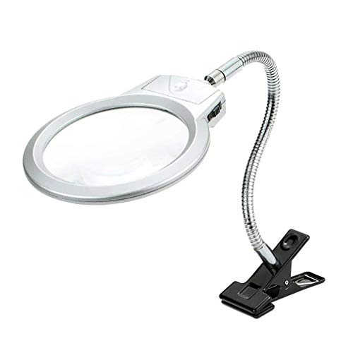 Eletam Desktop Beleuchtete Clip On Lupe 2,5X 5X Lupe zum Lesen Loupe Metallschlauch Led für Watch funktioniert -