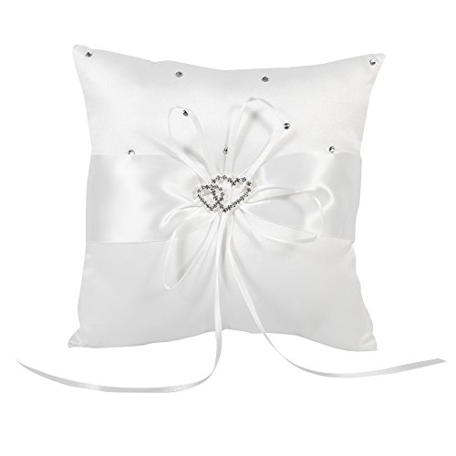Braut Hochzeits Ringkissen Taschen Kissen Träger Mit Doppelten Herzen Dekoration, Elfenbein-Weiß / Rot / Blau / Lila 20cm × 20cm