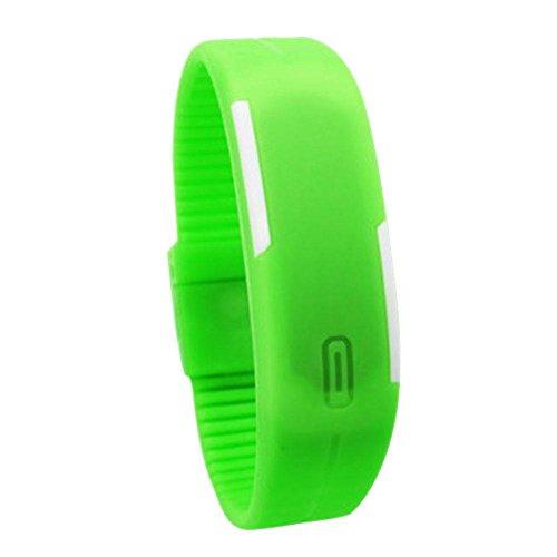 Everpert Männer Frauen Gummi LED Uhr Datum Armband Digital Sport Armbanduhr Grün