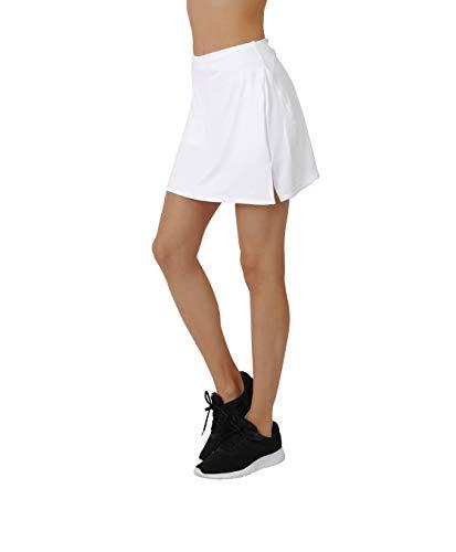 Golf Skort Elastique Jupe-Short de Sport Longueur Genoux Femme (Blanc, S)