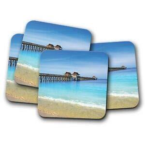 Worlddream Untersetzer Neapel Pier Florida - Strand USA Amerika Ostküste Geschenk -