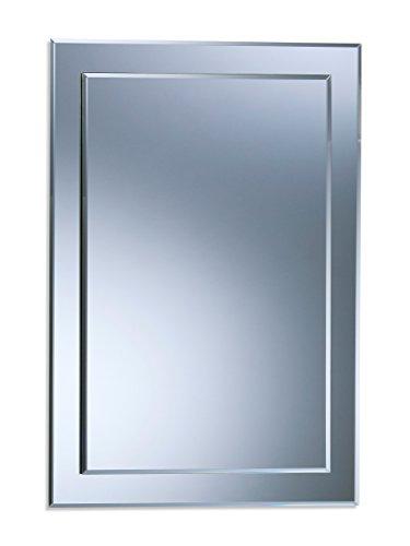 Precioso espejo de baño rectangular, moderno y elegante, 2 capas de cristal, con bisel, para instalar...