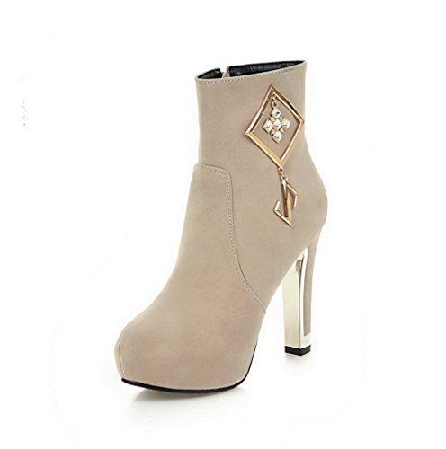 AllhqFashion Damen Mattglasbirne Rund Zehe Hoher Absatz Stiefel mit Beschlagene Strass, Cremefarben, 37