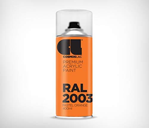 COSMOS LAC Acryllack Sprühdose, glänzend - Sprühlack Farbspray DIY Lackspray Sprühfarbe Sprühdose (RAL 2003 - pastellorange)