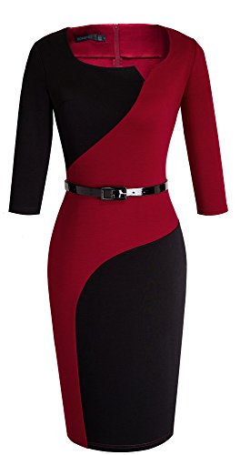 HOMEYEE Frauen elegantes Retro Patchwork beiläufiges Weinlese Abend Abnutzungs Partei Kleid B358(EU 38 = Size M,Rot + Schwarz) - 2
