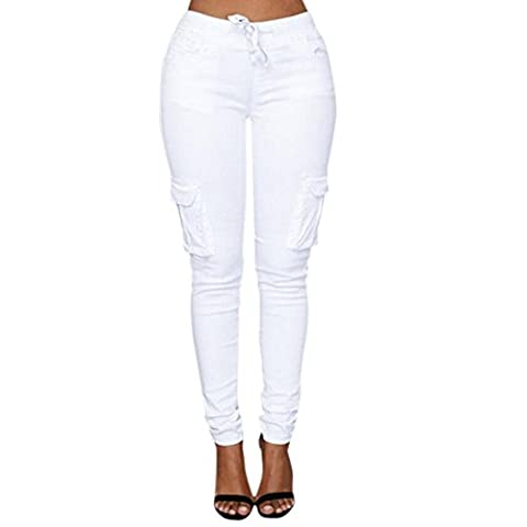 Minetom Femme Pantalons Jeans Taille Haute Slim Legging Cordon Cargo Militaire Casual Crayon Skinny Stretch Jambière Pantalons Blanc FR 38/Tour de taille 70 cm