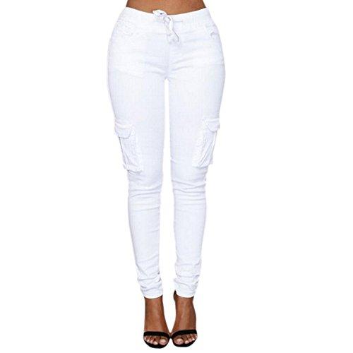 Minetom Damen Jogginghose Stretch Multi Tasche Beiläufig Skinny Hose Hohe Taille Freizeithose Bleistift Hosen mit Kordelzug Weiß DE 36/Taille 69CM