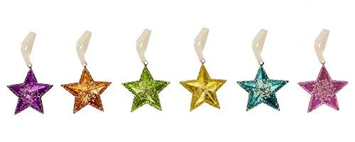 Eisen lackiert Metallic Sternen zum Aufhängen mit mehendi Arbeit Grün / Gelb -