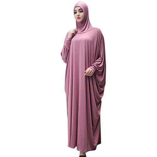 GJKK Muslimische Roben Elegante Muslimischen Kaftan Kleid Einfarbig Kopfbedeckung Moschee Fledermaus Ärmel Roben Strickjacke Ramadan Kleid Islamische Kleidung Abaya Dubai Kleider