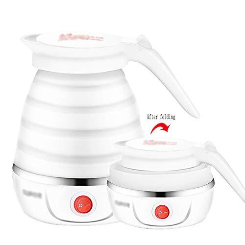 ACJJ Reisen Sie Elektrische Wasserkocher Dual-Spannung, Reisen Wasserkocher, Elektrische Tasse Heißes Wasser, Kleine Mini-Portable Klapp Reise Wasserkocher,Weiß,13.2 * 17.2 cm
