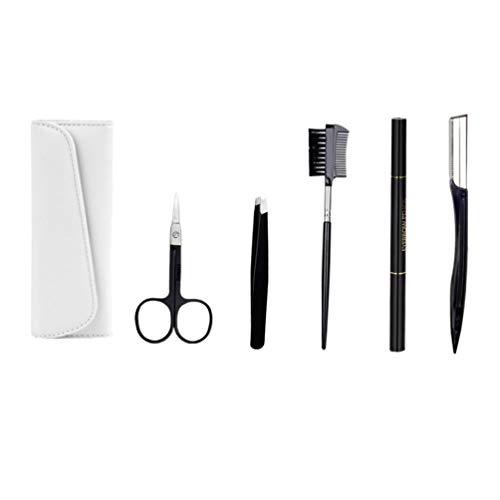 Lurrose 5 Stücke Augenbrauenpflege Kit Gesichtsschneider Rasierer Augenbrauenpinsel Schere Pinzette Aufbewahrungstasche für Frauen