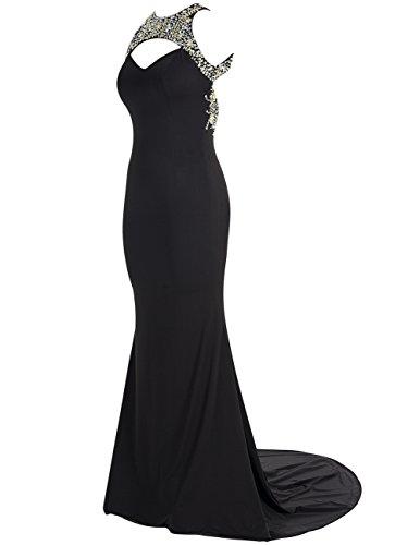 Dresstells Robe de cérémonie Robe de soirée en mousseline emperlée traîne moyenne dos nu Noir