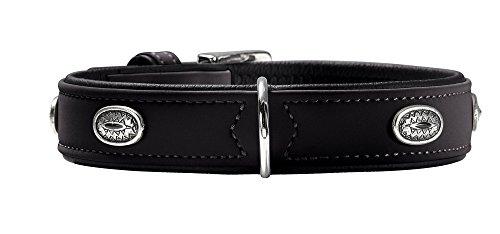HUNTER SOFTIE STONE Halsband für Hunde, Kunstleder, mit Applikationen, pflegeleicht, 50, schwarz