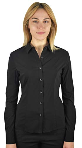 1stamerican camicia blusa manica lunga elasticizzata da donna - camicetta tinta unita
