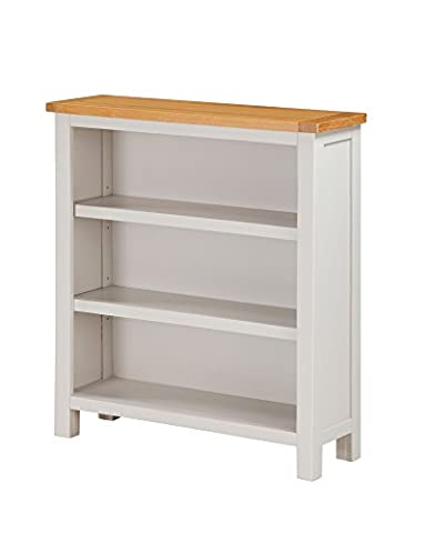 Metro Painted Oak Low Bookcase - Low Shelving Unit - Finish : Stone White Painted Sides and Oak Top - Living Room - Dining Room - Home Office