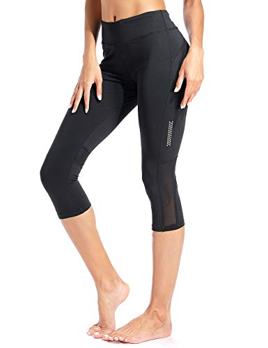 RIOJOY Capri Sports Leggings for Women Mesh 3/5 Length Cropped Running Tights with Pockets -