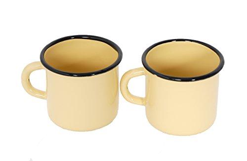Surtido de 2 Tazas de Metal esmaltado - 400 ml - Amarillas