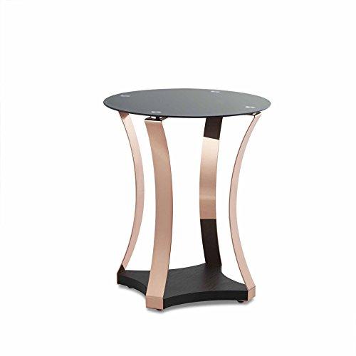 OTTMAR Mesa auxiliar de cristal negro con patas de acabado de cobre, acabado en oro rosa cromado, sofá mesa de café b0015901
