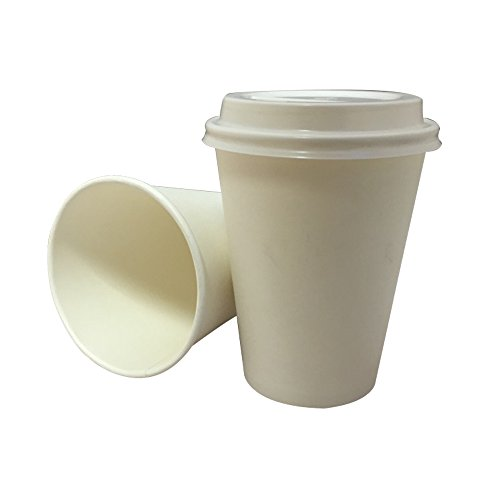 200x 340,2gram bianco Paper Single Wall Disposable Tea Coffee cappuccino Hot Drinks Cup & coperchio bianco