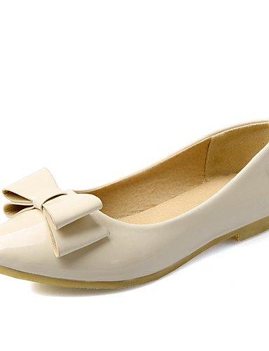 XAH@ Chaussures Femme-Habillé / Décontracté-Vert / Rose / Beige-Talon Plat-Confort / Bout Pointu-Plates-Cuir Verni beige-us9.5-10 / eu41 / uk7.5-8 / cn42
