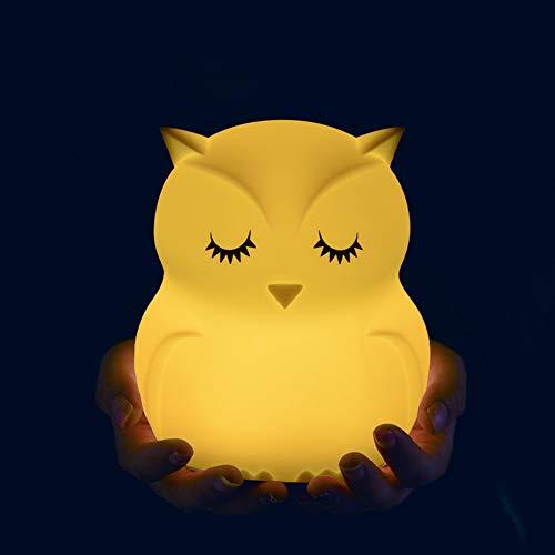 PDDXBB Cartoon Silikon Eule Vogel Flusspferd Led Nachtlicht Wireless Touch Sensor 9 Farben USB Wiederaufladbare Kinder Schlafzimmer Nachttischlampe Gelb 104,3 * 93,7 * 119,7 (Mm) (Für Junge Baby-dusche Eule Dekorationen)