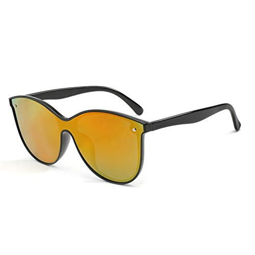 DING-GLASSES Gläser Augen Sonnenbrille Mode Katzenaugen Polarisierte Sonnenbrille Outdoor Pc UV400 Siamese Männer Frauen Reitbrille Trend Eyewear Sonnenbrille for Unisex (Color : Orange)