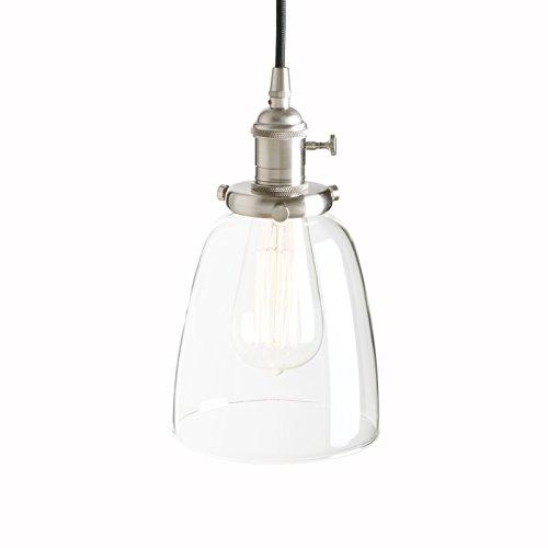 Pathson Pendelleuchte aus Glas im Retro-Design,Hängeleuchte,Antike Pendelleuchte,Glas Klar mit Altmessing (Gebürsteter Edelstahl Farbe)