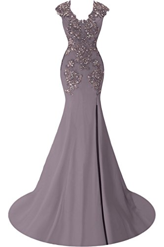 Gorgeous Bride Fashion Meerjungfrau Lang Chiffon Tuell Schlitz Festkleider Abendkleider Ballkleider Grau-Lila