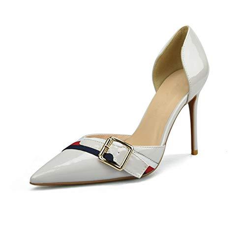 QISTAR Dress Pump Stilvolle Classy Elegant D'orsay Pumps für Damen Hohe Stiletto Heels Side Cut Decor mit Gürtel Spitz Sexy Schuhe für Damen (Color : Grey 10 cm Heel, Size : 39 EU) Classy Dress Pump