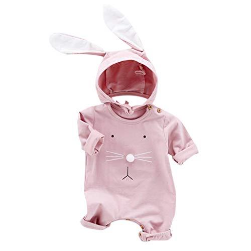 Bolero Hut Kostüm - Alwayswin Baby Mädchen Junge Kind Cartoon Kaninchen Strampler + Ohren Hut Kostüm Overall Outfits Einfarbig Langarm Spielanzug Süß Bequem Romper Baumwolle Weich Babykleidung