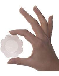 Bye Bra Pezoneras de seda mujer, talla unica en forma de flor 4 pares de uso unico para usaje diario fuerte Henkel adhesivo, Piel y Marrón