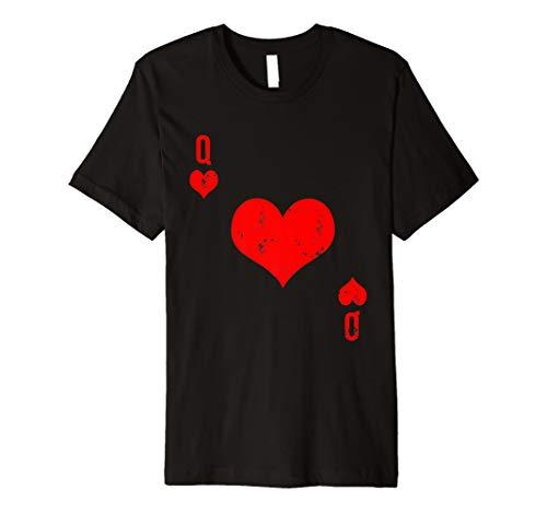 Lustiges Herz Königin Karte T-Shirt Spielkarte Zocker Shirt