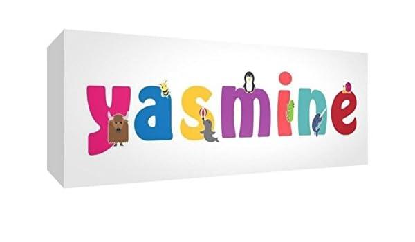 Little Helper Toile Bo/îte Galerie Envelopp/é avec Panneau avant Style Illustratif Color/é avec le Nom de Jeune Fille Yasmine 30 X 84 X 3 cm Grand