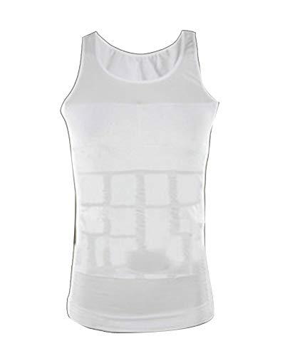 LaoZanA Hombre Faja Reductora Adelgazante Camiseta Reductora Compresión Deportivo Blanco XL