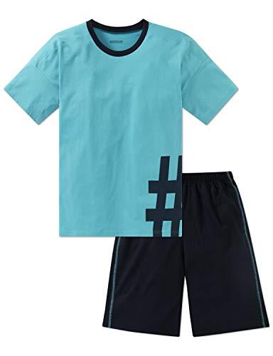 Schiesser Jungen Zweiteiliger Schlafanzug Anzug kurz, Blau (Türkis 807), 164 (Herstellergröße: M)
