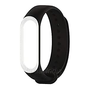 Epaal Dual Color Band Strap for Xiaomi Band 3/4, Mi Band 3/Mi Band 4 (Black - White Line)