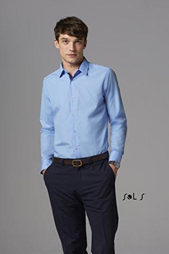 BROKER - Camicia Uomo Manica Lunga Slim CIELO BRILLANTE / BLU NAVY