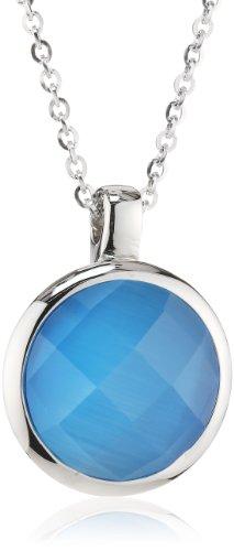 Mike Ellis New York Damen Halskette Edelstahl Glas 42.0 cm S171 Blue