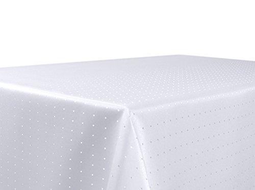 Punkte Damast Tischdecke, feste bügelfreie Stoffqualität, Größe und Farbe wählbar, Weiss Eckig 130x300 cm, Beautex