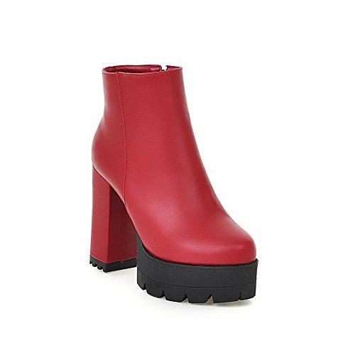 VogueZone009 Donna Cerniera Piattaforma Luccichio Puro Bassa Altezza Stivali Rosso