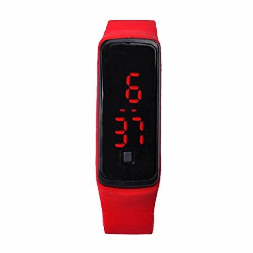Culater® Mode Ultra Thin Mädchen Mann Sport Silikon Digital LED Sport Armbanduhr (rote)