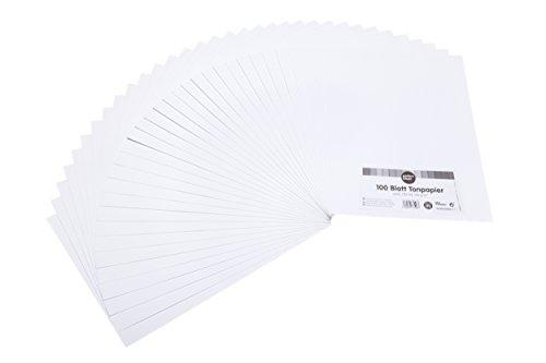 perfect ideaz 100 Blatt weißes A4 Ton-Papier, Tonzeichen-Papier, durchgefärbt, in weiß, 130g/m²...