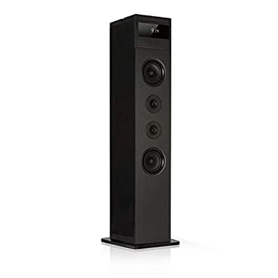 auna Karaboom 100-2.1 Speaker System, WiFi Tower Speaker, Floor-Standing Speaker, Internet Radio, DAB, DAB + and FM Radio, Bluetooth, CD Player from Auna
