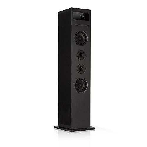 auna Karaboom 100 • Turmlautsprecher • Standlautsprecher • Lautsprecher Box • 120 Watt max • Bluetooth • UKW Radio • USB Port • platzsparend • inkl. Tablethalter und Ablage für Smartphones • schwarz -
