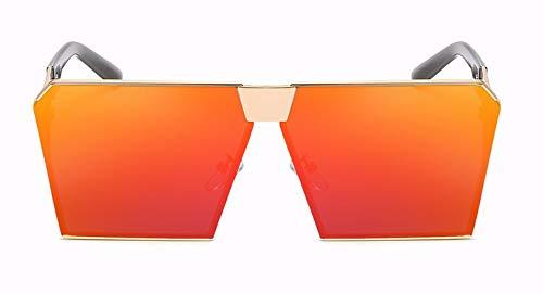WSKPE Sonnenbrille Marke Design Damen Große Quadratische Sonnenbrille Frauen/Männer Oben Flach Rahmenlose Spiegel Schattierungen Weiblichen Uv400 (Orange Linse)