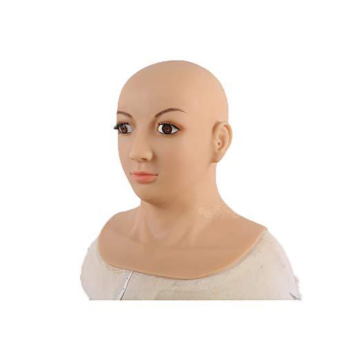 Männlich Asian Kostüm - Realistische Silikon weibliche Kopfmaske handgemachte Gesichts braune Augen-Nahtlose Masken für Crossdresser-Transgender-Halloween-Kostüme,Asian